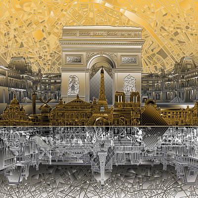 Louvre Digital Art - Paris Skyline Landmarks 5 by Bekim Art