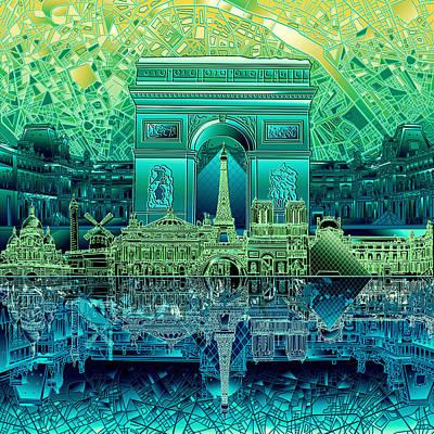 Louvre Digital Art - Paris Skyline Landmarks 6 by Bekim Art
