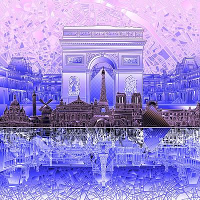 Louvre Digital Art - Paris Skyline Landmarks 7 by Bekim Art