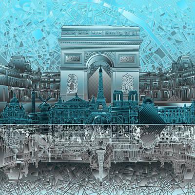 Louvre Digital Art - Paris Skyline Landmarks by Bekim Art
