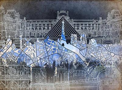 Louvre Digital Art - Paris Skyline Vintage by Bekim Art