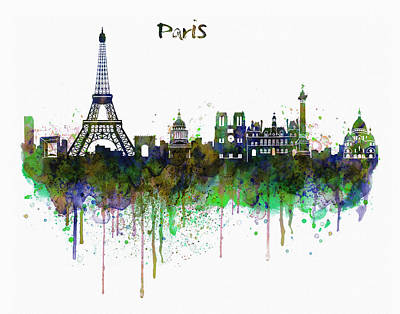Sacre Coeur Digital Art - Paris Skyline Watercolor by Marian Voicu