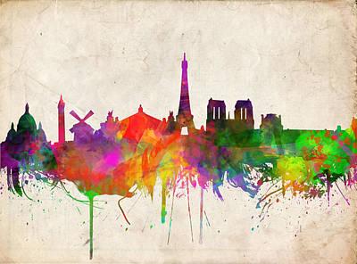 Louvre Digital Art - Paris Skyline Watercolor  by Bekim Art