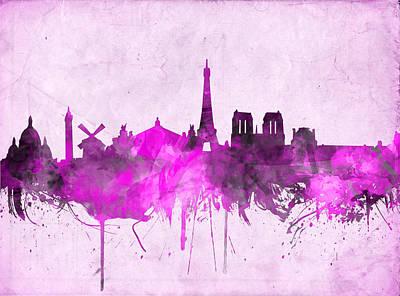 Louvre Digital Art - Paris Skyline Watercolor Purple by Bekim Art
