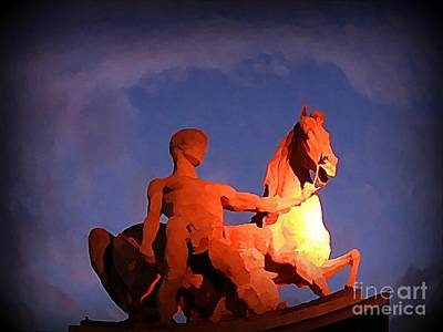 Paris Statue Near Eiffel Tower At Night Print by John Malone