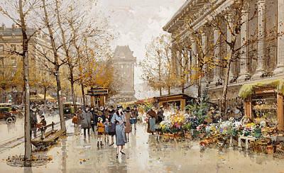 Jacques Painting - Paris Street In Autumn by Eugene Galien-Laloue