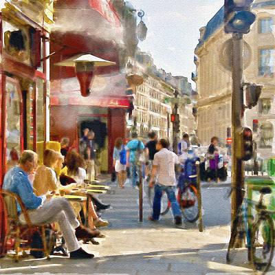 Paris Streetscape Watercolor Print by Marian Voicu