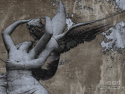 Paris - Surreal Angel Art - Eros And Psyche  Print by Kathy Fornal