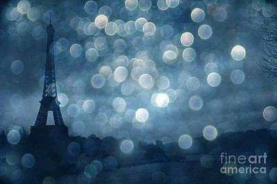 Paris Surreal Eiffel Tower Sapphire Blue Starry Night - Eiffel Tower Blue Stars Bokeh Night Sky  Print by Kathy Fornal