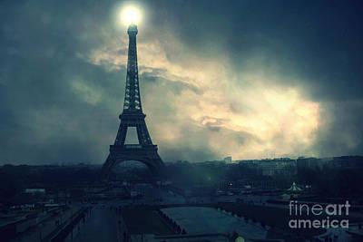 Surreal Paris Decor Photograph - Paris Surreal Eiffel Tower Storm Clouds Sun Setting - Teal Aqua Dark Green Eiffel Tower Landscape by Kathy Fornal