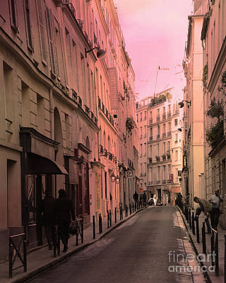Paris Romantic Street Photography - Dreamy Paris Street Scene With Pink Sky Sunset Print by Kathy Fornal
