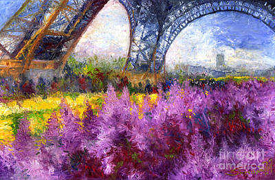 Streetscape Painting - Paris Tour Eiffel 01 by Yuriy  Shevchuk