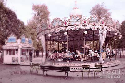 Surreal Paris Decor Photograph - Paris Tuileries Park Carousel - Paris Pink Carousel Horses - Paris Merry-go-round Carousel Art by Kathy Fornal