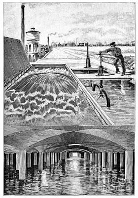 Paris Water Supplies, 19th Century Print by Spl