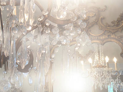 Paris Dreamy White Gold Ghostly Crystal Chandelier Mirrored Reflection - Paris Crystal Chandeliers Print by Kathy Fornal