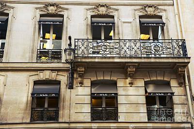Storefront Photograph - Paris Window Balcony Architecture - Paris Black Gold Building Black Balcony Window Art by Kathy Fornal