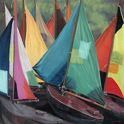 Parisian Sailboats Print by Kathleen English-Barrett