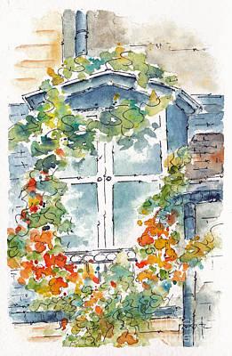 Rooftops Painting - Parisian Window by Pat Katz