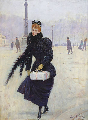 Parisian Woman In The Place De La Concorde, C.1890 Oil On Canvas Print by Jean Beraud