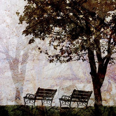 Emptiness Print featuring the photograph Park Benches Square by Carol Leigh