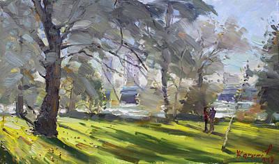 Fall Painting - Park By Niagara Falls River by Ylli Haruni