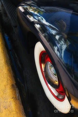 Park Central Hotel Reflection On Oldsmobile Wing - South Beach - Miami  Print by Ian Monk