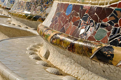Barcelona Photograph - Park Guell Benches by Brandon Bourdages