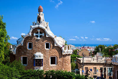 Panoramic Photograph - Park Guell In Barcelona by Michal Bednarek