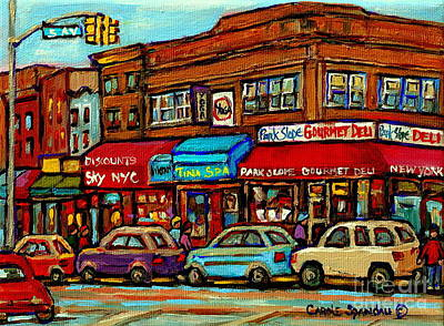 Corner Cafe Painting - Park Slope Gourmet Deli 5th Avenue New York Paintings Storefronts Street Scenes Carole Spandau by Carole Spandau