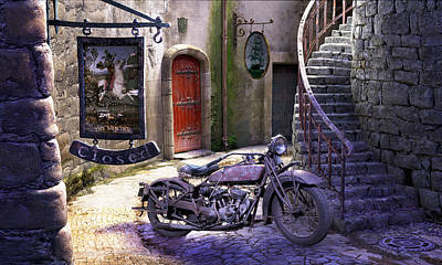 Medieval Painting - Parked At The Inn by Gary Hanna
