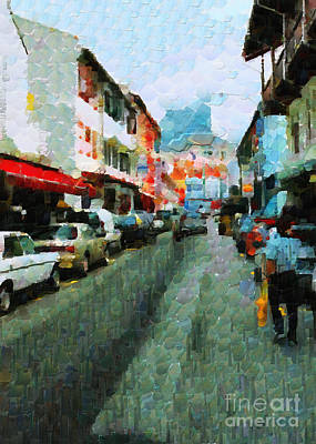 Local Attraction Painting - Parked Cars On The Singapore Street Painting by George Fedin and Magomed Magomedagaev