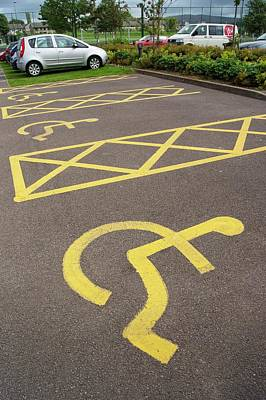 Hatching Photograph - Parking Spaces For Disabled Drivers. by Mark Williamson