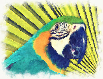 Candid Mixed Media - Parrot In A Palm Tree by Phil Perkins