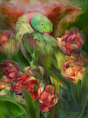 Parrot In Parrot Tulips Print by Carol Cavalaris