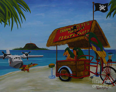 Jimmy Buffett Painting - Parrot Pete's Portable Pirate Party by Anthony Dunphy