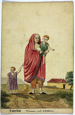 Parsee Woman And Child Print by British Library