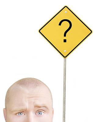 Directional Signage Photograph - Part Of A Mans Head And A Sign by Chris and Kate Knorr