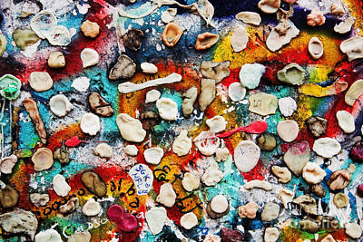 Spray Photograph - Part Of Berlin Wall With Graffiti And Chewing Gums  by Michal Bednarek