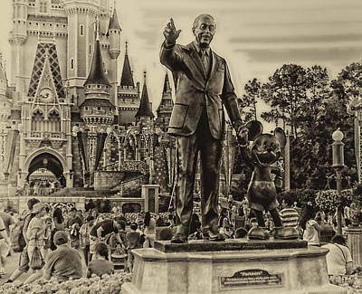Merchandise Mixed Media - Partners Statue Walt Disney And Mickey In Black And White by Thomas Woolworth