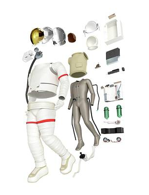 Parts Of A Spacesuit Disassembled Print by Dorling Kindersley/uig