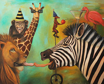 Zebra Painting - Party Animals by Leah Saulnier The Painting Maniac