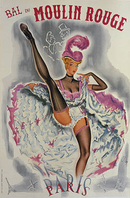 Party At The Moulin Rouge Print by French School