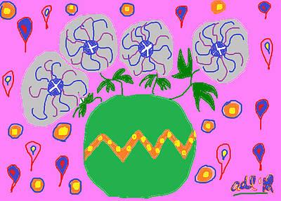 Pinwheels Drawing - Party Flowers by Anita Dale Livaditis