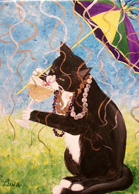 Sip Painting - Party Gras Cat by Lynn Luna