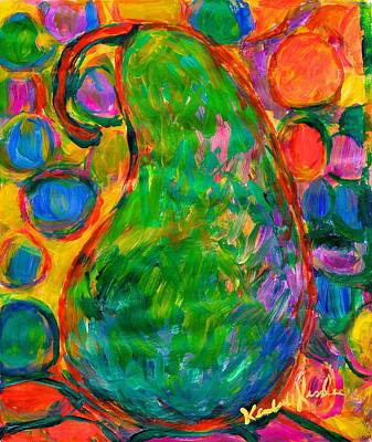 Green Painting - Party Pear by Kendall Kessler