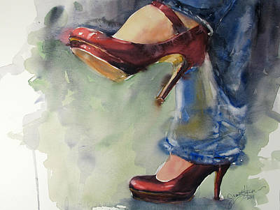 Stilettos Painting - Party Shoes by Judith Levins