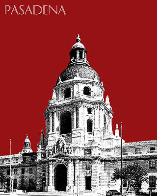 Pen Digital Art - Pasadena Skyline - Dark Red by DB Artist