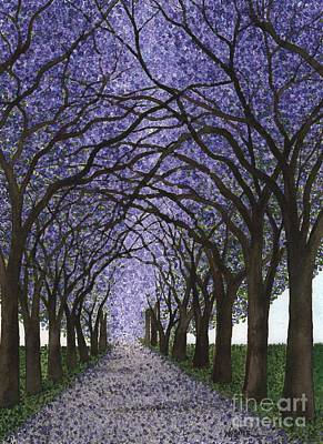Jacaranda Painting - Jacaranda Trees On Pasadena Street by Hilda Wagner