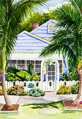 Pass-a-grille Cottage Watercolor Print by Michelle Wiarda