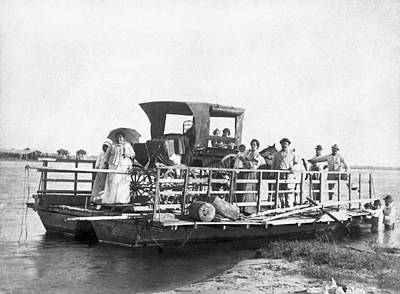 Passengers On A Ferry Print by Underwood Archives